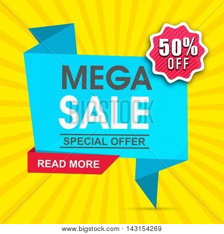 Mega Sale with Special Offer, 50% Off, Creative Paper Tag or Banner design on yellow rays background, Vector illustration.