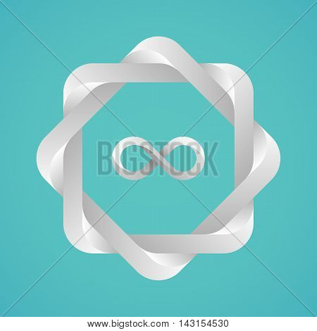 Monochrome twisted frame with an infinity sign. Optical illusion with a metallic 3d effect. Template for a logo symbol emblem. Useful design element.