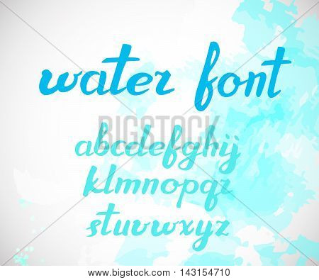 Modern Vector brush hand written Alphabet. Watercolor effect. ABC Painted Letters. Modern Brushed Lettering. Painted Alphabet