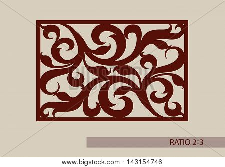 Floral ornament. The template pattern for decorative panel. A picture suitable for paper cutting printing laser cutting or engraving wood metal. Stencil manufacturing. Vector