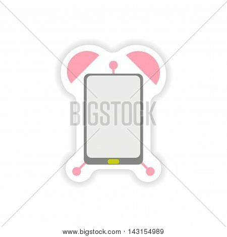 paper sticker on white background  Mobile Phone alarm clock