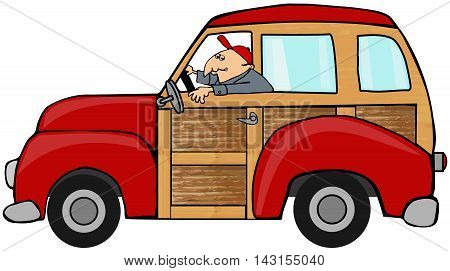 Illustration of a man driving a red woody station wagon.