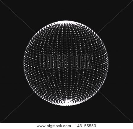 Abstract 3D sphere spiral shape in the form of luminous balls. Vector illustration