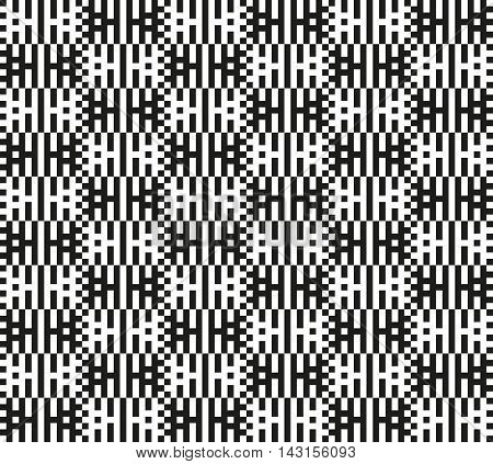 Interlacing monochrome stripes and squares. Endless black and white texture. Bold pixel geometric shapes. Optical illusion. Seamless pattern for a background.