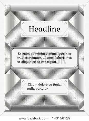 Wide linear monochrome frame with three sections. Old fashioned minimalistic book style. Element of design for a cover title page certificate or greeting card.