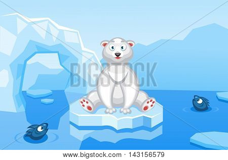Illustration of a polar bear on an arctic vector background with ice floes, icebergs, water and fishes