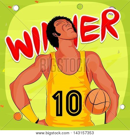 Basketball Player in winning pose for Sports concept.