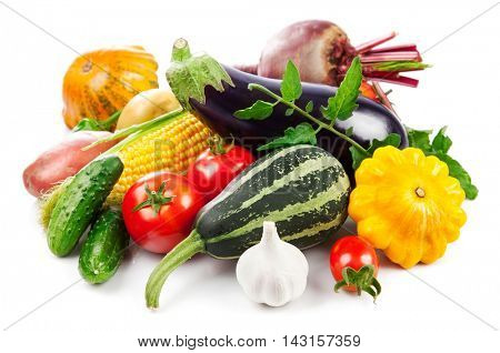 Fresh vegetables autumnal harvest with green leaves. Isolated on white background