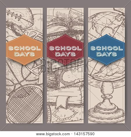 Three vertical banners with hand drawn school related sketches featuring books, globe, sport equipment. School memories collection. Great for school, education, book shop, retro design.