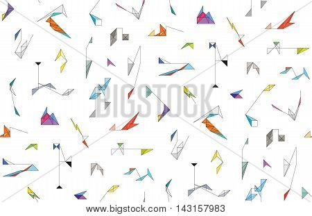 Seamless pattern with a cute wireframe origami toys and an abstract geometric shapes. Endless background texture for a textile products. Colorful wallpaper for children's room. Backdrop for web.