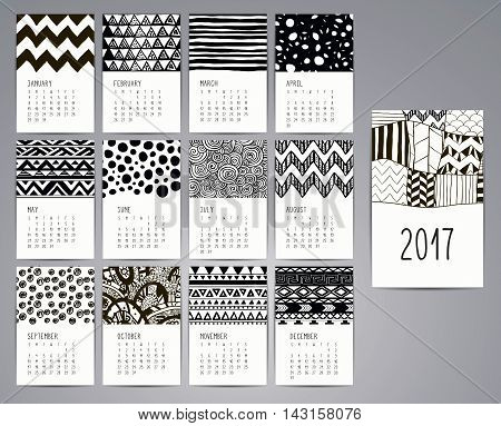 Calendar 2017. Templates with Black Artistic Hand Drawn Patterns and Textures. Vector Illustration. Isolated.