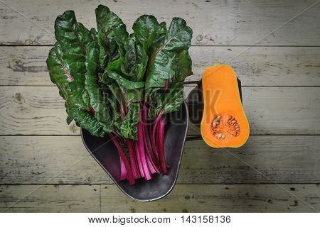 Beetroot leaves and butternut squash on old scale.