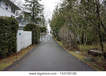 WEQUETONSING, MICHIGAN / UNITED STATES - DECEMBER 22, 2015: A view down Chipmunk Alley in Wequetonsing during December.
