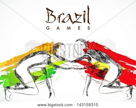 Creative illustration of Wrestlers fighting on abstract brush stroke background for Sports concept.