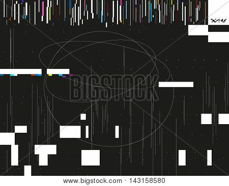 Glitched lines and colorful rectangular shapes. Bunch of collapsing data. Signal error in the dark digital space. Abstract background illustration. Element of design for poster invitation or web.