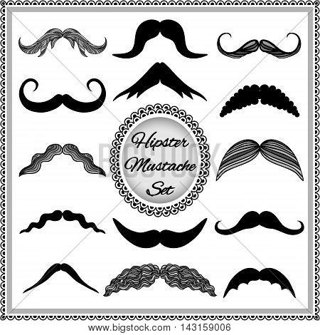 Set of vintage mustaches. Hipster mustache collection. Isolated on white background. EPS 10.
