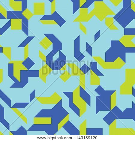 Seamless pattern with an abstract geometric shapes. Colorful isometric structure. Endless texture for a background.