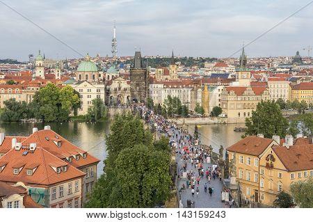 PRAGUE, CZECH REPUBLIC, JULY 7,2016: View of Charles Bridge and Prague from Watchtower, Czech Republic.