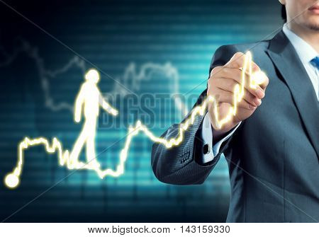 Close view of businessman drawing on screen promotion concept