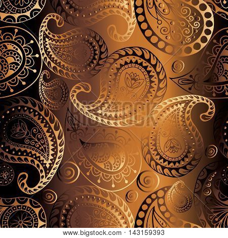 Paisley ornamental pattern..Brown modern elegant stylish floral seamless pattern background with line art vintage volumetric Paisley ornaments in Eastern style. Luxury illustration and royal 3d decor elements with shadow and highlights.