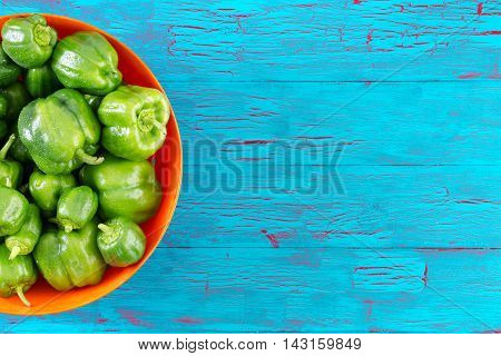 Half Bowl Filled With Green Peppers