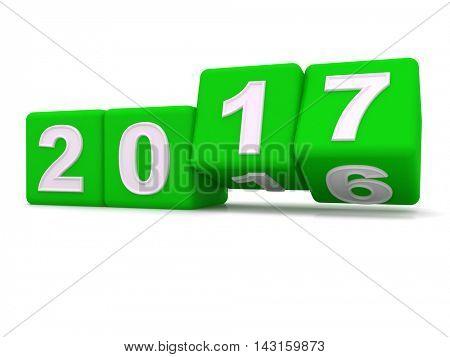 Happy New Year 2017. 3d