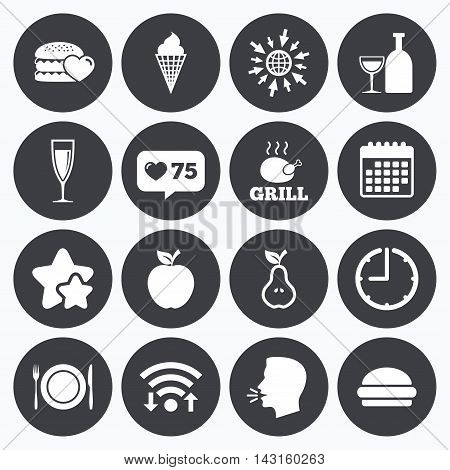 Calendar, wifi and clock symbols. Like counter, stars symbols. Food, drink icons. Grill, burger and ice cream signs. Chicken, champagne and apple symbols. Talking head, go to web symbols. Vector