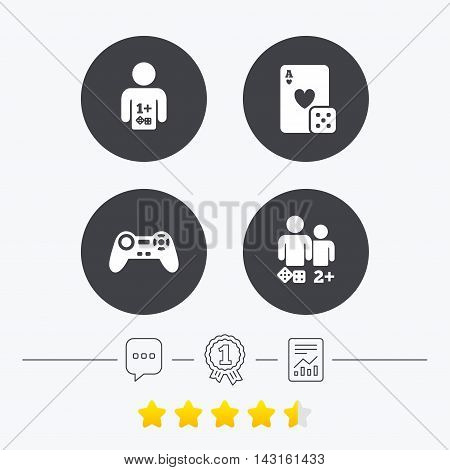 Gamer icons. Board games players signs. Video game joystick symbol. Casino playing card. Chat, award medal and report linear icons. Star vote ranking. Vector