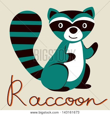 Cute illustration of raccoon character. In vector format