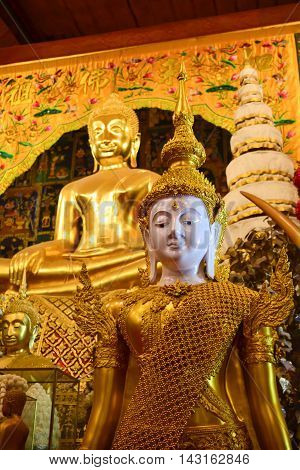 The best landmark for tourism in Ayutthaya thailand(Wat phanan cheng temple. )The Golden Buddha statue in thai.temple.