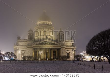 St. Isaac's Cathedral in St. Petersburg, twilight in winter, St. Petersburg