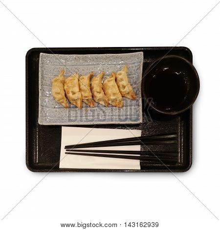 Dumplings gyoza japanese food isolate on white background