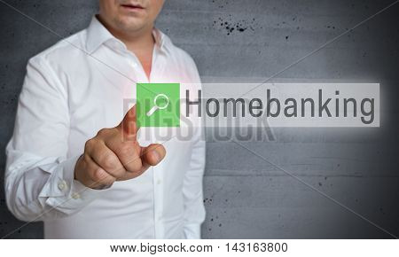 Homebanking Browser Is Operated By Man Concept
