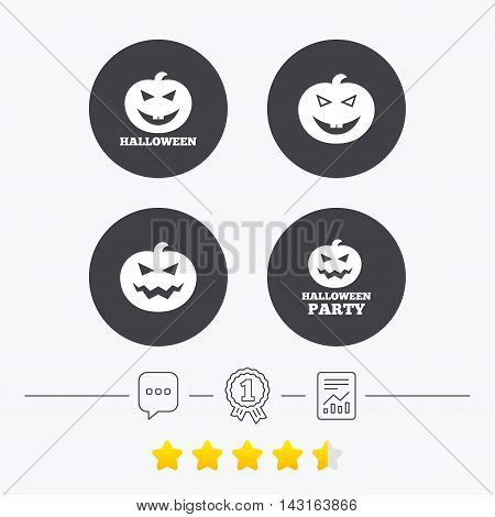Halloween pumpkin icons. Halloween party sign symbol. All Hallows Day celebration. Chat, award medal and report linear icons. Star vote ranking. Vector
