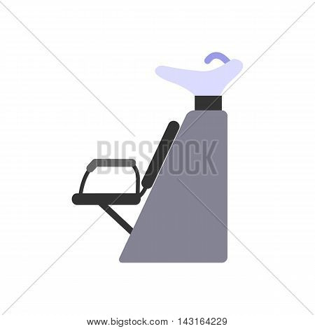 Dryer chair for washing hair. Shampoo bowl. Equipment for hairdressing salons. Flat design. Isolated icon on white background.