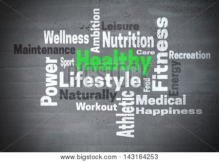 Healthy lifestyle fitness concept word cloud background