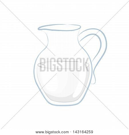 Milk in a glass decanter. Cartoon icon. Isolated object on a white background. Vector illustration.