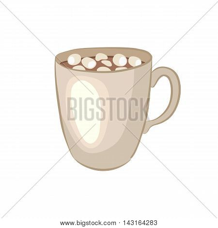 Hot chocolate. Cocoa souffle. Cartoon icon. Isolated object on a white background. Vector illustration.