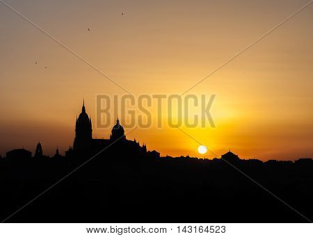 golden sunrise panoramic photograph of the city of Salamanca