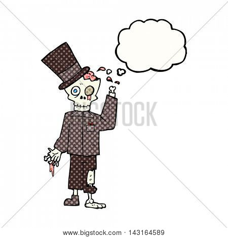 freehand drawn thought bubble cartoon posh zombie