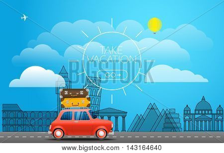 Take Vacation travelling concept. Flat design illustration. Red retro car with baggage