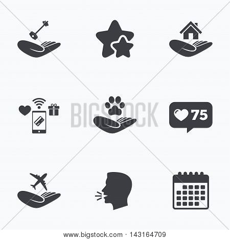 Helping hands icons. Shelter for dogs symbol. Home house or real estate and key signs. Flight trip insurance. Flat talking head, calendar icons. Stars, like counter icons. Vector