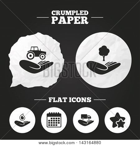 Crumpled paper speech bubble. Helping hands icons. Agricultural tractor insurance symbol. Delivery truck sign. Save nature forest. Water drop. Paper button. Vector