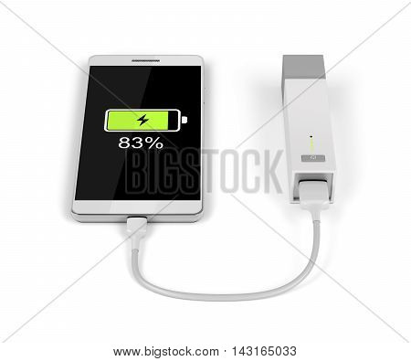 Smartphone charging with external battery on white background, 3D illustration