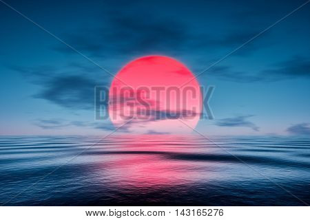 3d rendering of a red sunset over the blue sea
