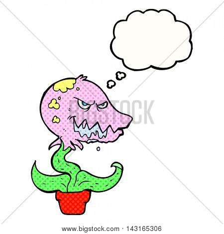 freehand drawn thought bubble cartoon monster plant