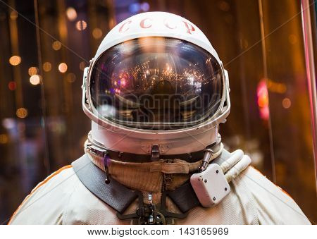 MOSCOW, RUSSIA - MAY 31, 2016: Russian astronaut spacesuit in Moscow space museum