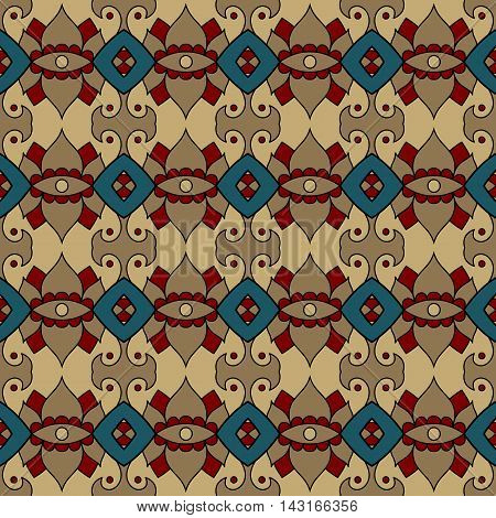 Natural colored vector seamless patterns. Brown and turquoise ornamental backgrounds.