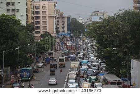 A traffic jam in the city of Mumbai one of the most populated cities in India