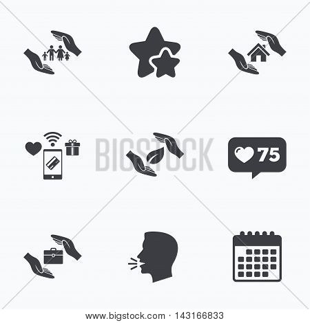 Hands insurance icons. Human life insurance symbols. Nature leaf protection symbol. House property insurance sign. Flat talking head, calendar icons. Stars, like counter icons. Vector